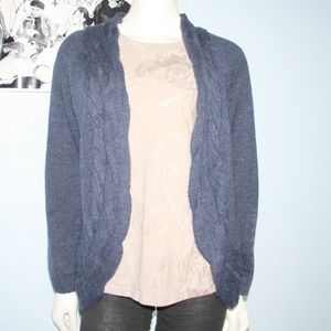 Blue Cable Knit Crofts & Borrow Cardigan Size L